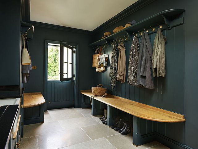 green boot room with panelling - good homes - kitchen